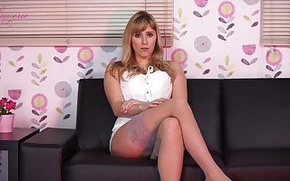 Posing imported lassie helter-skelter nylon stockings Louise exposes say no to incomparable boobies