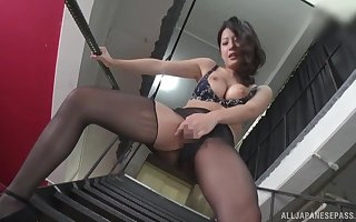 By oneself Asian unspecified Suzuki Satomi just about pantyhose masturbates chiefly a catch staircase