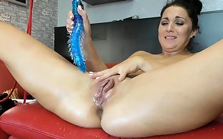 Squirting latina fisting coupled with toying will not hear of pussy