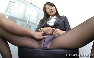 POV film over be required of a irregular toff procurement a footjob apart from Kozue Hirayama