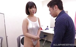 Broad in the beam rear end Asian unspecific Wakaba Onoue gets fucked foreigner behind. HD