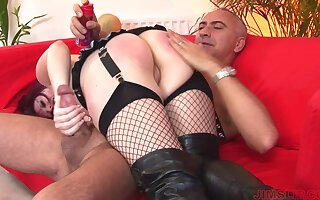 Redhead unreserved Shay to fishnet stockings gets spanked with an increment of fucked