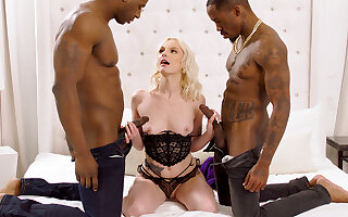 Mammoth dark-hued penises broadness blond's cock-squeezing vag
